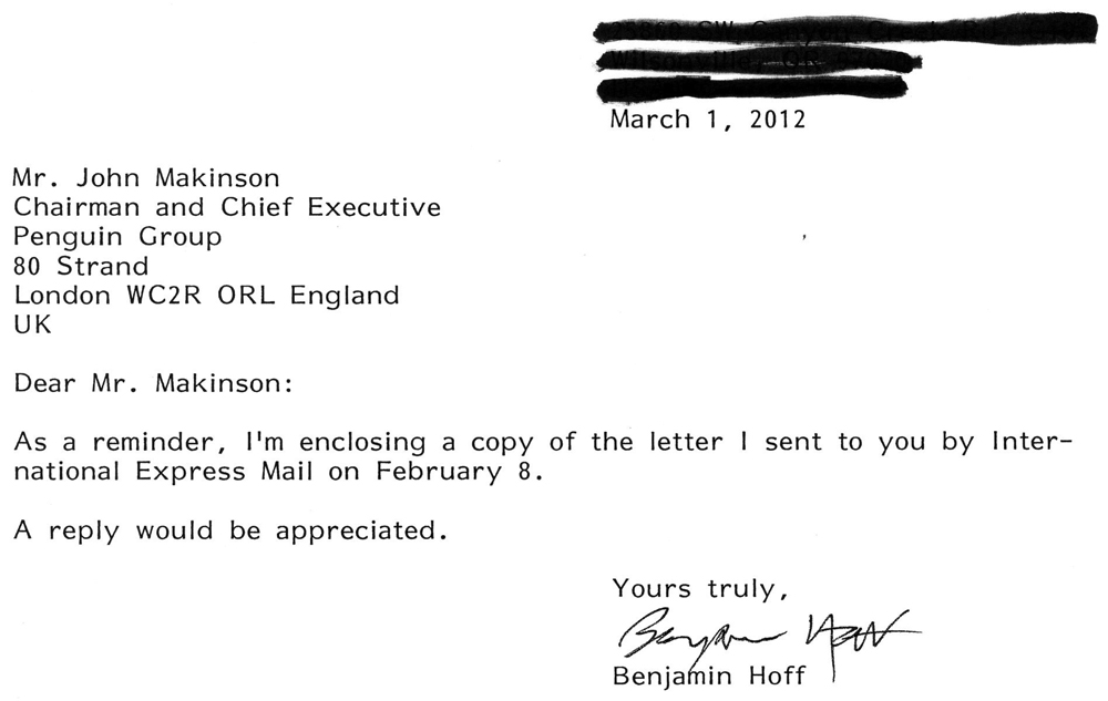 Follow up letter to John Mackinson