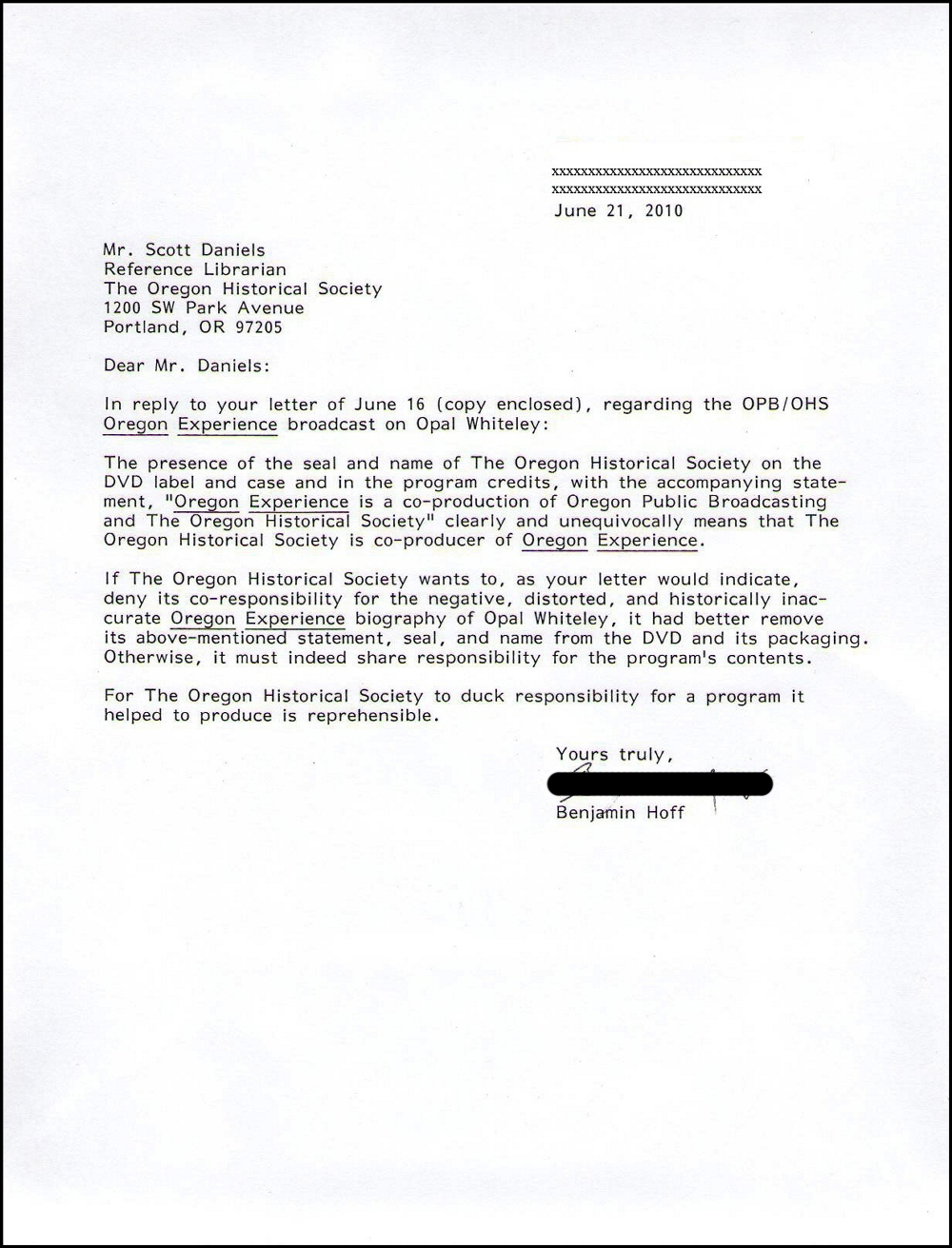 Reply from Benjamin Hoff to Scott Daniels of OHS June 2010