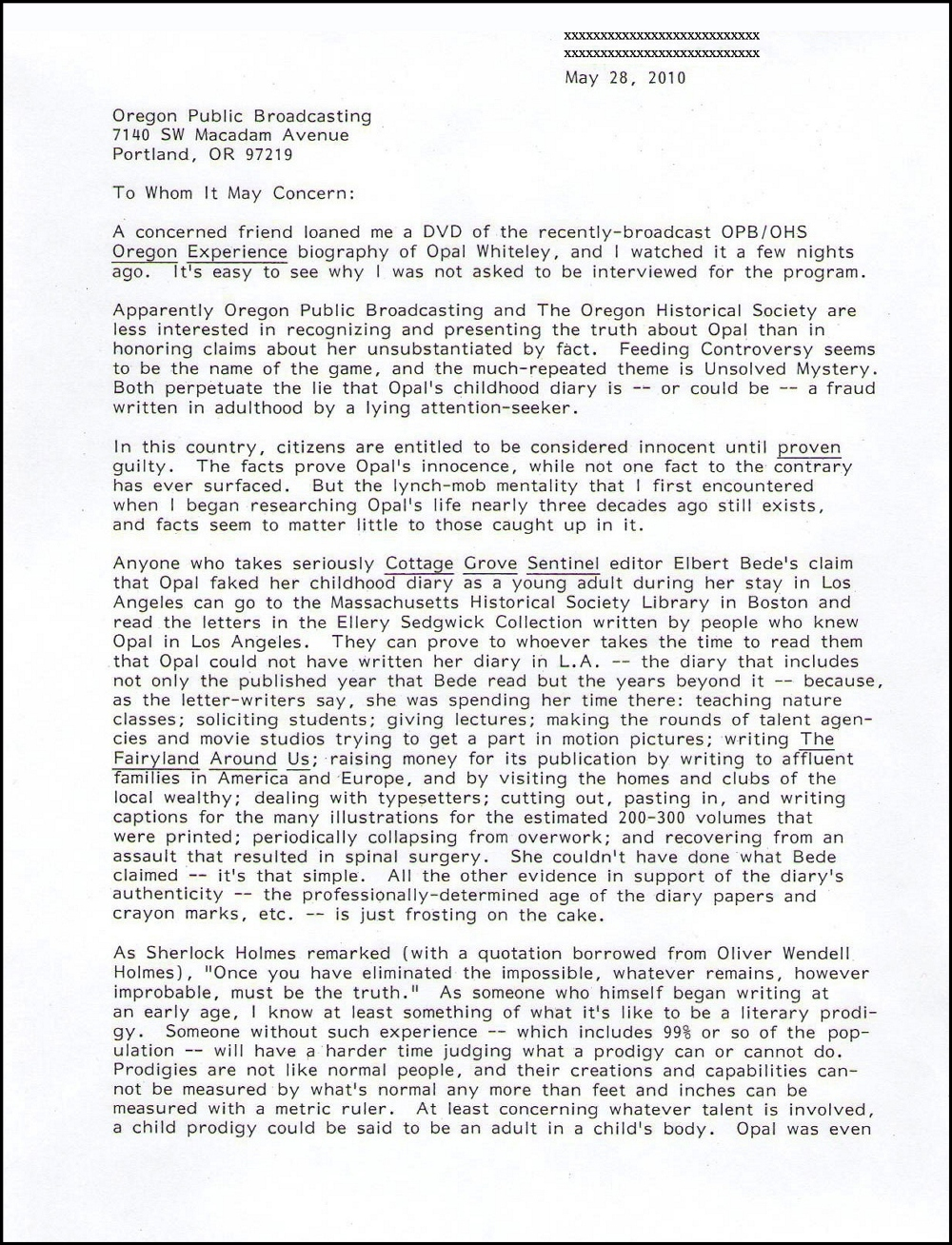 Letter from Benjamin Hoff to OPB May 2010