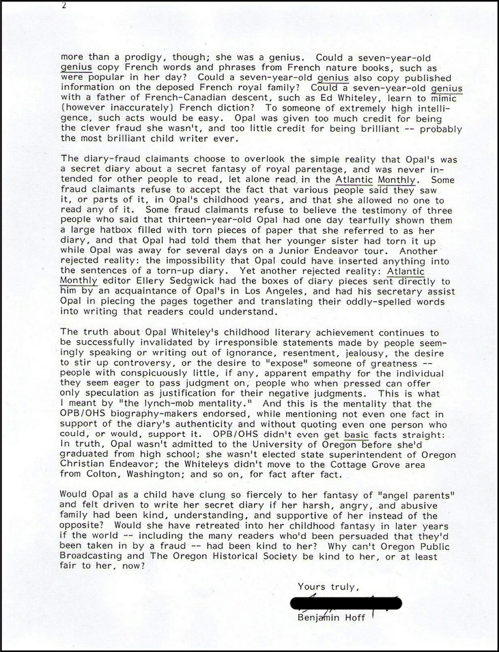 Letter from Benjamin Hoff to OPB May 2010, page 2