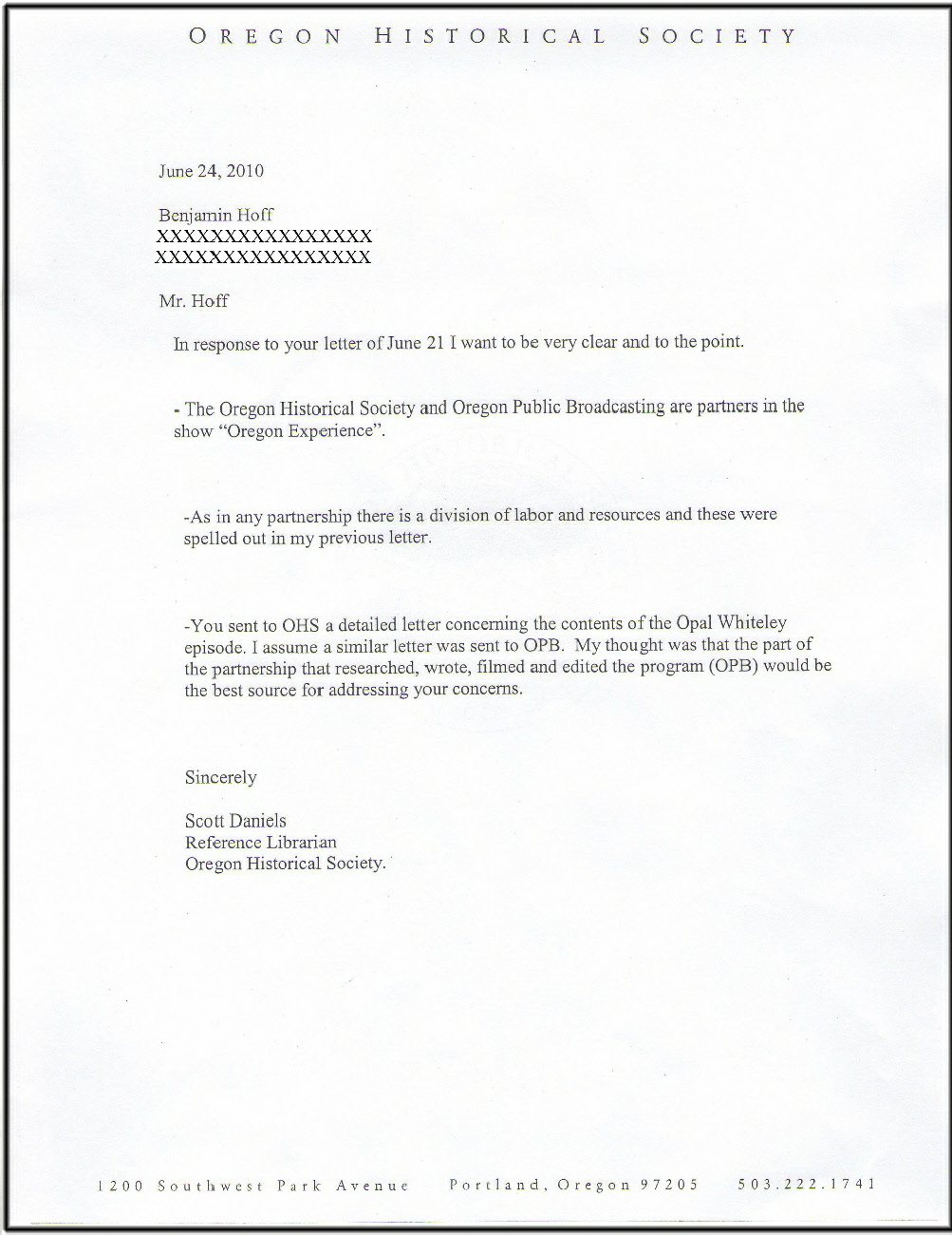 Reply from Scott Daniels of OHS to Benjamin Hoff June 2010