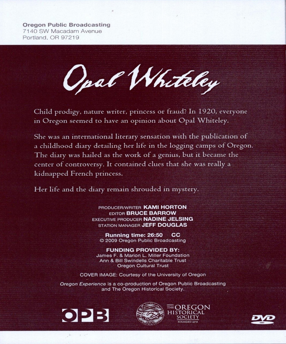 Printed DVD Materials from Offending Opal Whitely Documentary