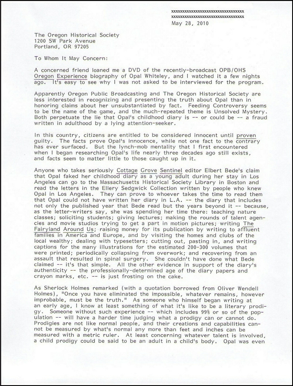 Letter from Benjamin Hoff to OHS May 2010